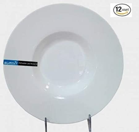 Super White 10 Diameter by 2 CAC China RCN-310 Clinton 7 oz Porcelain Round Wide Rim Pasta Bowl Box of 12
