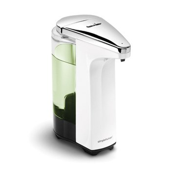 simplehuman Touch-Free Automatic Sensor Soap Pump With Lavender Liquid Soap Sample, White, 8 fl. oz. (Automatic Dish)