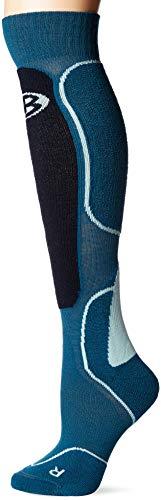 Icebreaker Merino Women's Ski Over The Calf Socks, New Zealand Merino Wool, Kingfisher/Midnight Navy/Dew, Large
