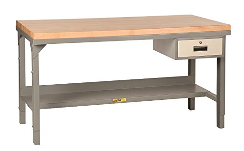 Little Giant Adjustable Height Welded Steel Workbench with Butcher Block Top and Storage Drawer