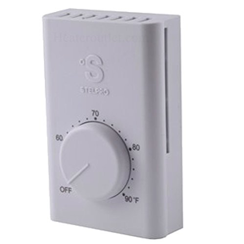 Line Voltage Thermostat, Electric heaters only. Stelpro SWT2F, Double pole (4 wire) a simple to use thermostat for most electric heaters. Temperature range of 50 to 90°F, can control up to 22 amps Double Pole Line Voltage Thermostat