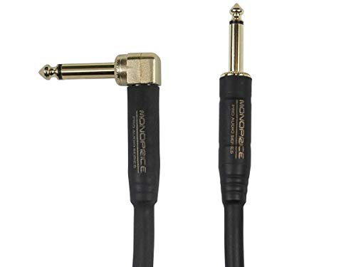 1 Right Angle Connector - Monoprice Braided Cloth 1/4 Inch (TS) Guitar/Instrument Cable Cord - 10 Feet- Blue with One Right Angle Connector