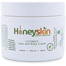 Ultimate Organic Moisturizer Cream (2 oz) Face & Body, Manuka Honey, Aloe Vera, Anti-Aging, Dry Skin Repair Lotion, Eczema, Psoriasis, Rashes, Rosacea, Wrinkles, 100% by Honeyskin