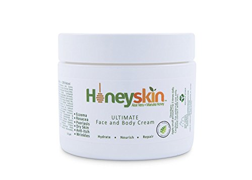 Ultimate Organic Moisturizer Cream (2 oz) Face & Body, Manuka Honey, Aloe Vera, Anti-Aging, Dry Skin Repair Lotion, Eczema, Psoriasis, Rashes, Rosacea, Wrinkles, 100% by (Dry Organic Honey)