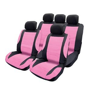 Pink Black Leather Look Car Seat Cover Set Amazoncouk Car