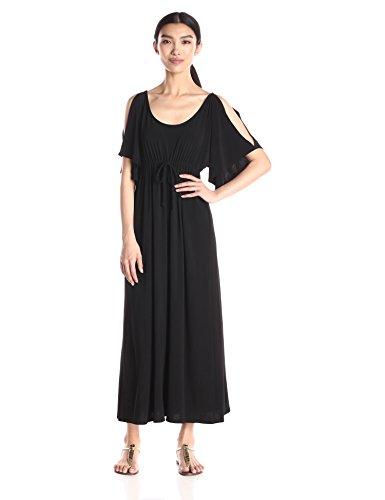 Star Vixen Women's Slit Flutter Sleeve Maxi Dress with Empire Drawstring Waist, Black, Medium ()