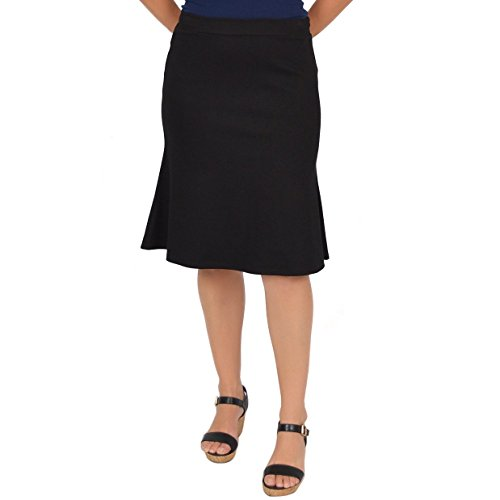 Stretch Is Comfort Women's Flared Trumpet Skirt Black 3X