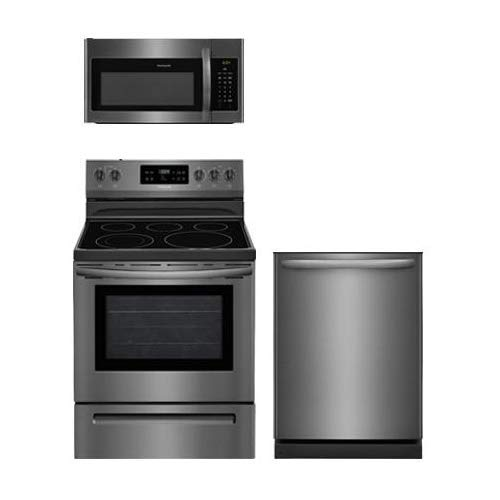 Frigidaire 3-Piece Black Stainless Steel Kitchen Package With FFEF3054TD 30″ Electric Range, FFMV1645TD 30″ Over-the-Range Microwave and FFID2426TD 24″ Fully Integrated Dishwasher