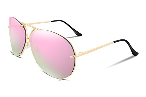 Men For Mirrored Women FEISEDY Lens B2265 Oversized Aviator 1 Metal Frame Pink Sunglasses Gold Stylish UV400 wcZZqIY