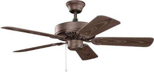Kichler Outdoor Ceiling Light - Kichler  414SNB Basics Patio 42IN Damp Rated Ceiling Fan, Satin Natural Bronze Finish with Brown ABS Blades