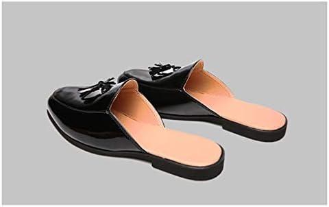ローファー メンズ エナメル タッセル サボ かかとなし 蒸れにくい カジュアル シューズ 革靴 男性 サンダル サッと履ける スリッポン 黒 オフィス デスクワーク快適 紳士靴 履きやすい くつ 室内 ルーム スリッパ