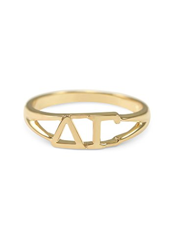 Delta Gamma 14k Gold Plated Sorority Ring with Greek letters (Delta Gamma Ring)