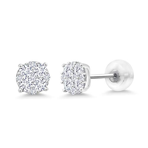 Gem Stone King White Lab-Grown Diamond Cluster 10K White Gold Stud Earrings (0.50 Cttw, VS2-SI1 Clarity, G-H Color) (Best Color Clarity For A Diamond)