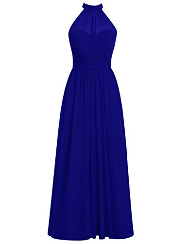Dresstells Long Bridesmaid Dress High Neck Chiffon Prom Dress Side Split Royal blue Size 12 (Split Flask)