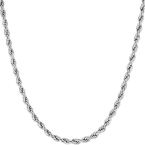 Lifetime Jewelry 3mm Rope Chain Necklace 24k Real Gold Plated for Women Men Teen