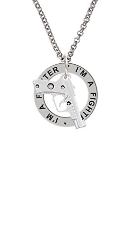 9mm Handgun - I'm A Fighter Affirmation Ring Necklace