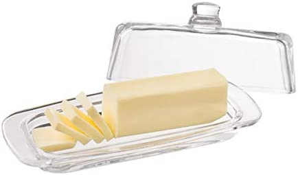 Glass Butter Dish with Handled Lid Rectangular Classic Covered 2Piece Design Clear Traditional