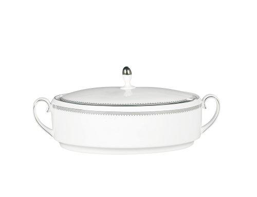 Vera Wang by Wedgwood Grosgrain 1.5-Quart Covered Vegetable (White Vegetable Round Covered Bowl)
