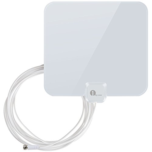 1byone Thin and Shiny Indoor HDTV Antenna, 25 Miles Range with 16.5 Feet Extra Long High Performance Coaxial Cable