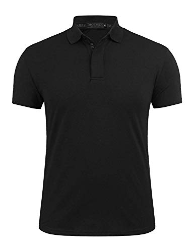 (UUANG Men's Basic Pullover Dry Fit Golf Polo 3 Button Athletic Polo Shirts (Black,XL))