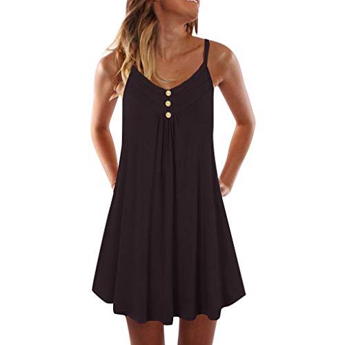 Lelili Women Spaghetti Strap Double Breasted Plain Shift Dress Long Tops Casual Sleeveless Pleated Loose Mini Dress Black
