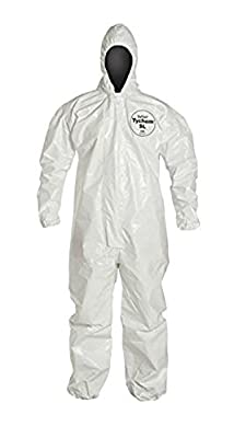 Dupont SL127BWHXL001200 SL Coveralls with Standard Fit Hood and Elastic Wrists and Ankles, Bound Seam, X-Large, White (Pack of 12)