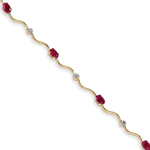 ICE CARATS 14k Yellow Gold Diamond/ruby Bracelet 7 Inch Gemstone Fancy Fine Jewelry Ideal Mothers Day Gifts For Mom Women Gift Set From Heart (Ruby Gold Bracelet 14k Yellow)