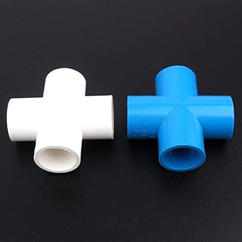 MOLIBAIHUO 6pcs/lot 50mm PVC Cross Joints Garden Irrigation Fittings Industrial Water Treatment Adapter Aquarium Tank Water Pipe Connectors (Size : White Cross Joint)