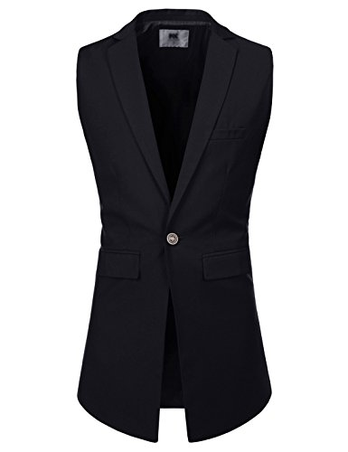 TheLees (NKLV600) Mens Slim Fit Notched Lapel Vest One Button Long Waistcoat BLACK US XL(Tag size XL)