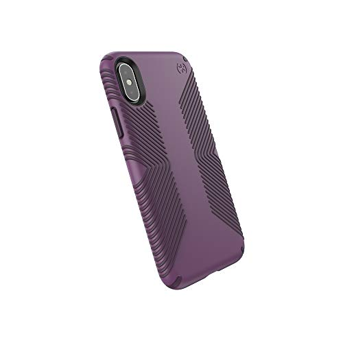 Speck Products Compatible Phone Case for Apple iPhone Xs/iPhone X, Presidio Grip Case, Cabbage Purple/Vintage Purple ()
