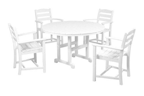 POLYWOOD PWS132-1-WH La Casa Café 5-Piece Dining Set, White (Table Polywood Dining)