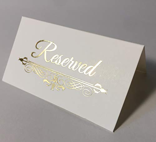 Reserved Table Sign Gold Foil -25 Pack -Wedding Party Collection (Place Card Reserved) ()