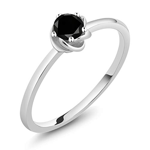 Gem Stone King 10K White Gold Black Diamond Solitaire Engagement Ring 0.17 Ct Round Cut (Size ()