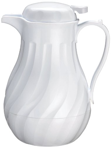 Winco Push Button Insulated Beverage Server with Swirl Design, 64-Ounce, White ()