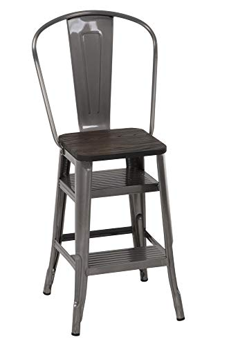 COSCO Luxor Stool with Steps, Antique Gun Metal, 1-Pack (Antique Wood Ladder)