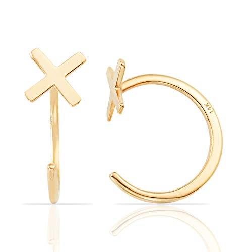 Jewel Connection Simple Mini Slip On Huggie Cuff Earrings in Solid 14K Yellow Gold (Mini X) ()