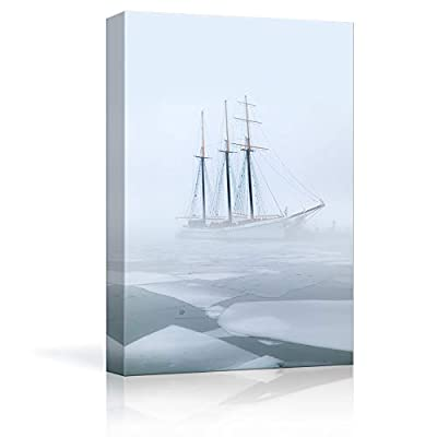 Quality Artwork, Lovely Object of Art, Sailboat Sailing on Floating Ice Sea