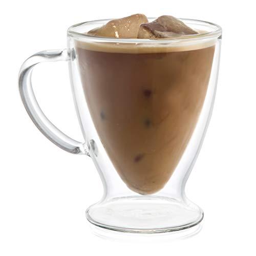 JoyJolt Declan Irish Glass Coffee Cups Double Wall Insulated Mugs Set of 2 Latte Glasses, - Footed Ounce 10 Mug