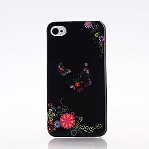 ZXM-Mariposa y flores patrón de plástico duro caso para iPhone 4/4S