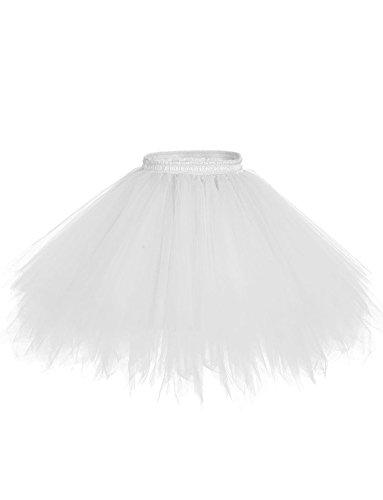 BeiQianE Femmes des annes 50 Vintage Petticoat multicouches jupes courtes sous-jupes Crinoline Ballet Bubble Tutu jupe Blanc