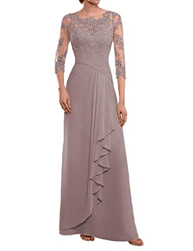 Mother of The Bride Dresses Long Evening Formal Dress Lace Prom Mauve 14