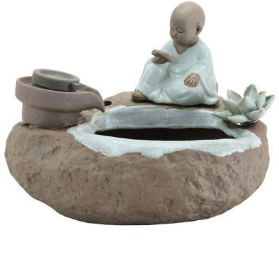 HXSON Flow Intelligence Aquarium Ceramic Ornaments Chinese Zen Small Monk in The Water Bonsai Lucky Home Jewelry Craft Fish Tank