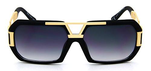 Futuristic Aviator Sunglasses Flat Top Retro Fashion Gold Metal Matte Black - Retro Futuristic Fashion