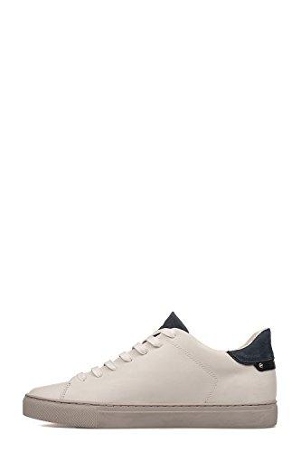 CRIME London Herren 11210KS110 Weiss/Blau Leder Sneakers