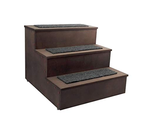 FixtureDisplays Deluxe Wood Pet Stairs Pet- Dog/Cat 3 Steps/Stairs to Access Bed, Sofa, Step Ladder 12226-FBA