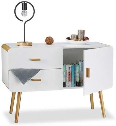 Relaxdays 10020981 Credenza Nordica Buffet Design con Piedi Armadietto a 2 Cassetti HxLxP 70 x 100 x 47 cm Bianco