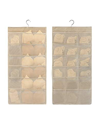 Closet Hanging Organizer with Mesh Pockets, Dual Sided Wall Shelf Wardrobe Organizers, Space Saver Storage Bags Oxford Cloth with Metal Hanger for Bra Underwear Underpants Socks (Beige, 12+18)