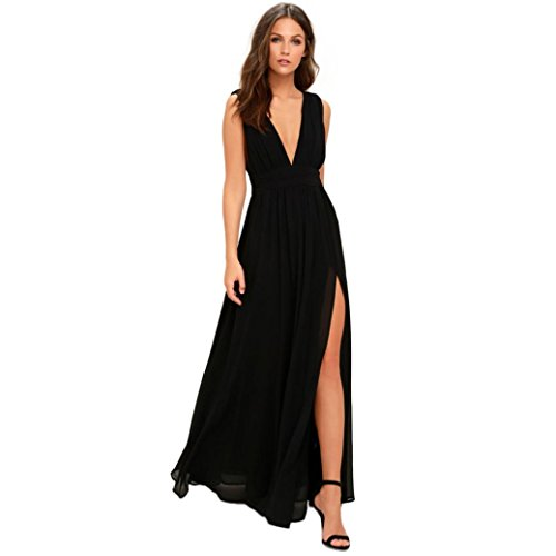 OldSch001® Ladies Charming Deep V Neck Backless Ball Gown Long Wedding Party Night Chiffon Dress (Black, M) by OldSch001®