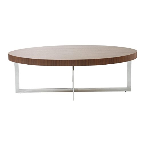 Office Walnut Coffee Table (Eurø Style Oliver Wood Top Coffee Table with Chromed Steel Frame, Walnut Finish)