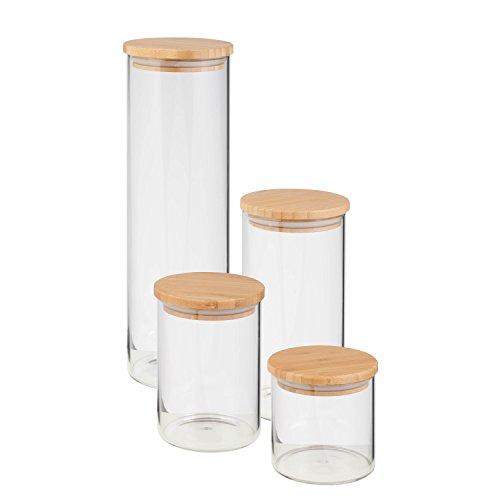 (HoneyCanDo 4 Pcs Jar Storage Set, Bamboo,)